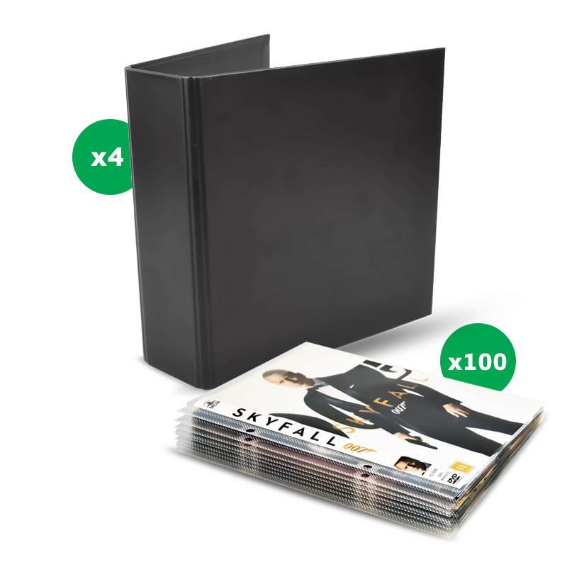 pack de rangement dvd - 100 pochettes dvd, 4 classeurs